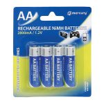 Mercury AA Size NiMH 2800 mA Rechargeable Batteries (4 Pcs)