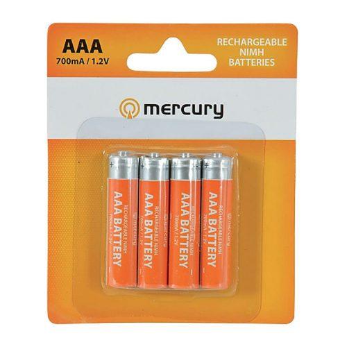 Mercury AAA Size NiMH 700 mA Rechargeable Batteries (4 Pcs)